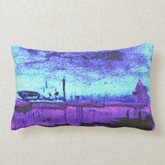 Two Scenes: Watercolor boat and Birds in branches Lumbar Pillow