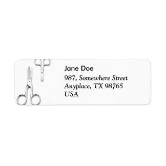 Two scissors return address label