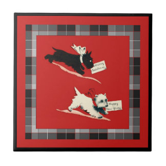 "Two Scottie Dog Sm. (4.25"" x 4.25"") Ceramic Tile"