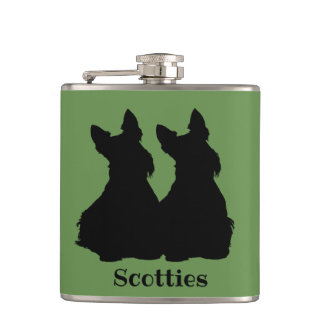 Two Scottish Terrier black sitting blue collar Hip Flask