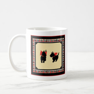 Two Scottish Terriers red bows mug