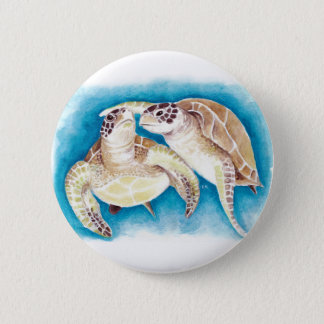 Two Sea Turtles 2 Inch Round Button