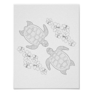 Two Sea Turtles Adult Coloring Poster
