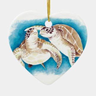 Two Sea Turtles Ceramic Ornament