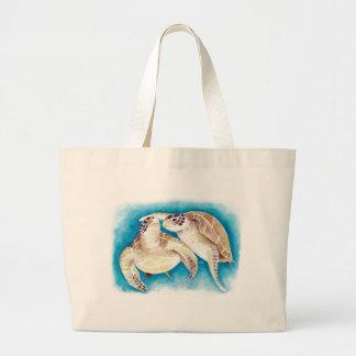 Two Sea Turtles Large Tote Bag