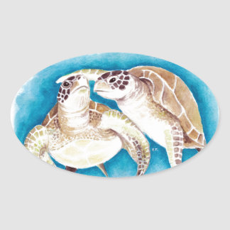 Two Sea Turtles Oval Sticker