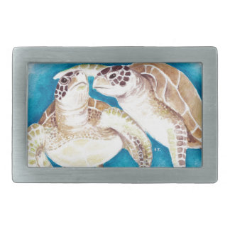 Two Sea Turtles Rectangular Belt Buckle