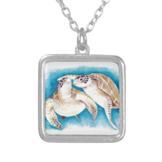 Two Sea Turtles Silver Plated Necklace