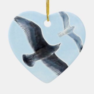 Two Seagulls Ceramic Ornament