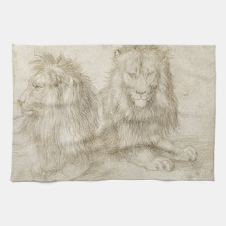 Two Seated Lions by Albrecht Durer Kitchen Towel