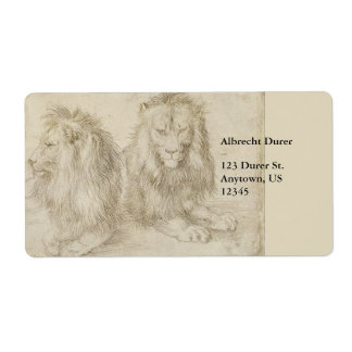 Two Seated Lions by Albrecht Durer Labels
