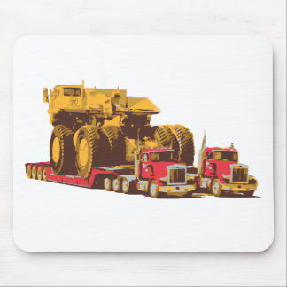 Two Semi Big Trucks carrying a Huge Mining Truck Mouse Pads