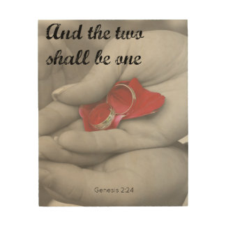 """Two shall be one"" Christian Marriage Wall Art Wood Prints"