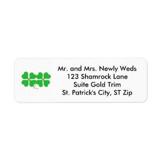 Two Shamrocks Trimmed in Gold Address Labels