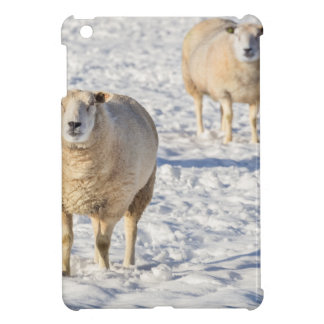 Two sheep standing in snow during winter iPad mini cover