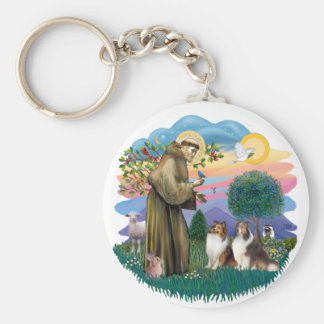 Two Shelties - St. Francis (ff) Keychain
