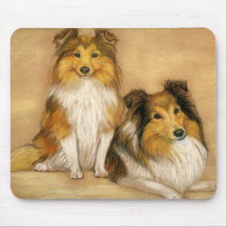 """Two Shetland Sheepdogs"" Dog Art Mousepad"
