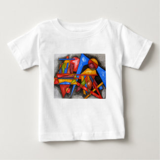 Two Ships-Abstract Art Geometric Hand Painted Baby T-Shirt