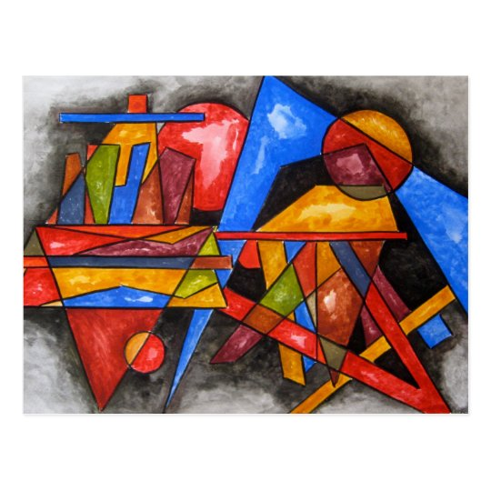 Two Ships-Abstract Art Geometric Handpainted Postcard