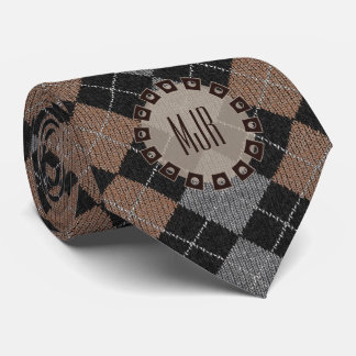 Two-Sided Brown, Gray and Black Argyle Monogram Tie