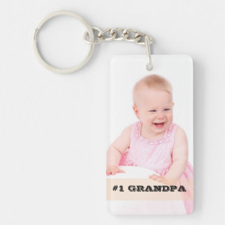 Two Sided Custom Photo #1 GRANDPA Grandfather Gift Double-Sided Rectangular Acrylic Keychain