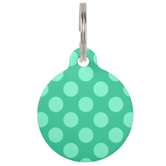 Two Sided Green and Aquamarine Dots Pet ID Tag