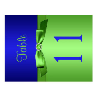 Two Sided Lime and Royal Blue Table Number Postcard