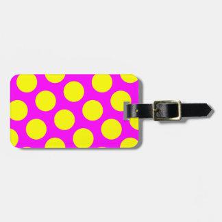 Two Sided Magenta and Yellow Polka Dots Bag Tag
