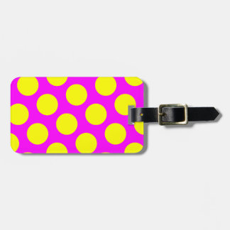 Two Sided Magenta and Yellow Polka Dots Luggage Tag