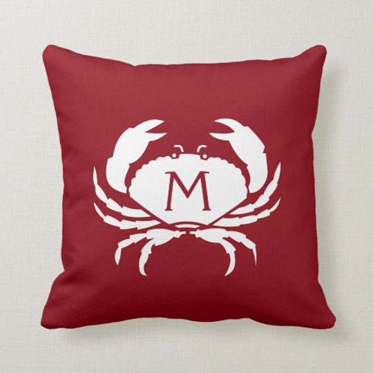 Two-Sided Nautical Red Crab Monogram Throw Pillow