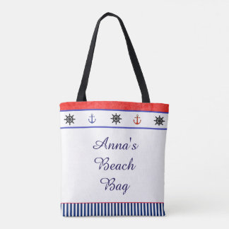 Two Sided Personalized Nautival Beach Tote Bag