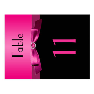 Two Sided Pink and Black Table Number Postcard