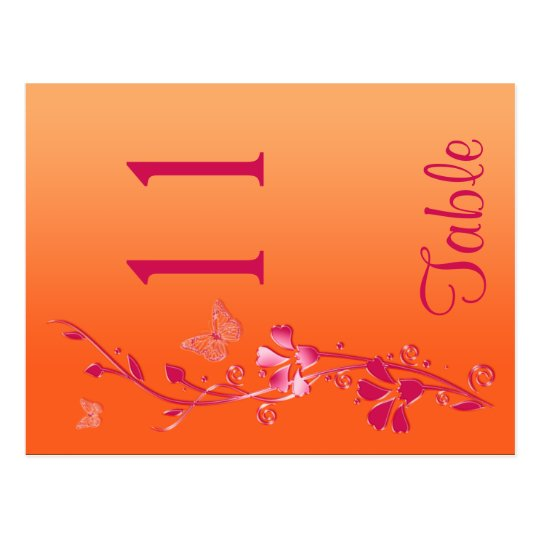 Two Sided Pink and Orange Floral Table Number Postcard