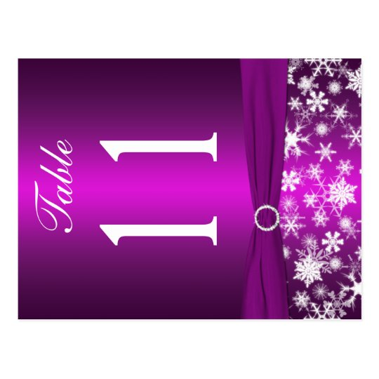 Two-sided Purple White Snowflakes Table Number Postcard