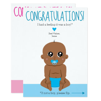 Two Sides Baby Gender Reveal Ethnic Congrats Card