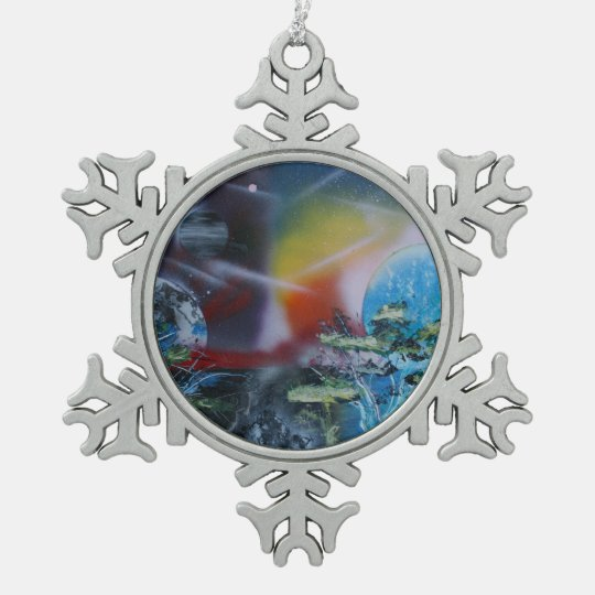 two sides planet scenes spacepainting pewter snowflake ornament