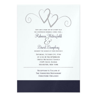 Two Silver and Navy Blue Hearts Wedding Invitation