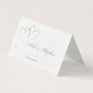 Two Silver Hearts Intertwined Place Card