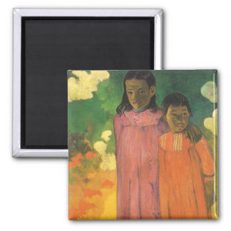 Two Sisters by Paul Gauguin, Vintage Impressionism Square Magnet