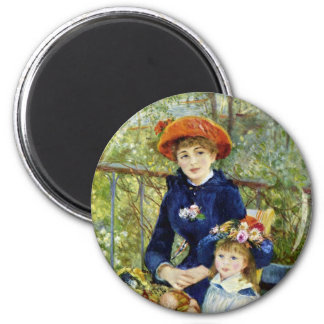 Two Sisters (On the Terrace) By Pierre Renoir 2 Inch Round Magnet