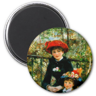Two Sisters On the Terrace by Renoir 2 Inch Round Magnet