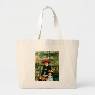 Two Sisters On the Terrace by Renoir Jumbo Tote Bag
