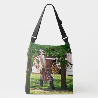 Two Sisters Playing on Swing Crossbody Bag