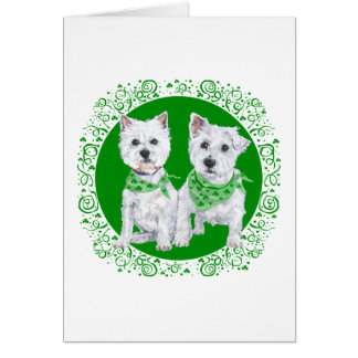 Two Sitting Westies on St Patricks Day Note Card
