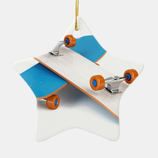 Two skateboards ceramic ornament