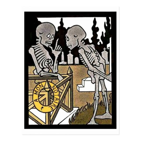 Two Skeletons postcard
