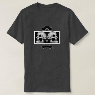 Two Skulls Back to Back Arrows- Black & White T-Shirt
