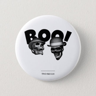 Two Skulls Boo! 2 Inch Round Button