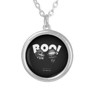 Two Skulls Boo! Silver Plated Necklace