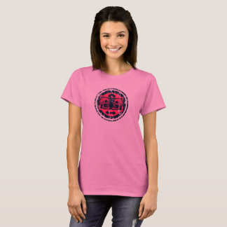 Two Skulls - Neon Pink -Arrows -Distressed Logo T-Shirt